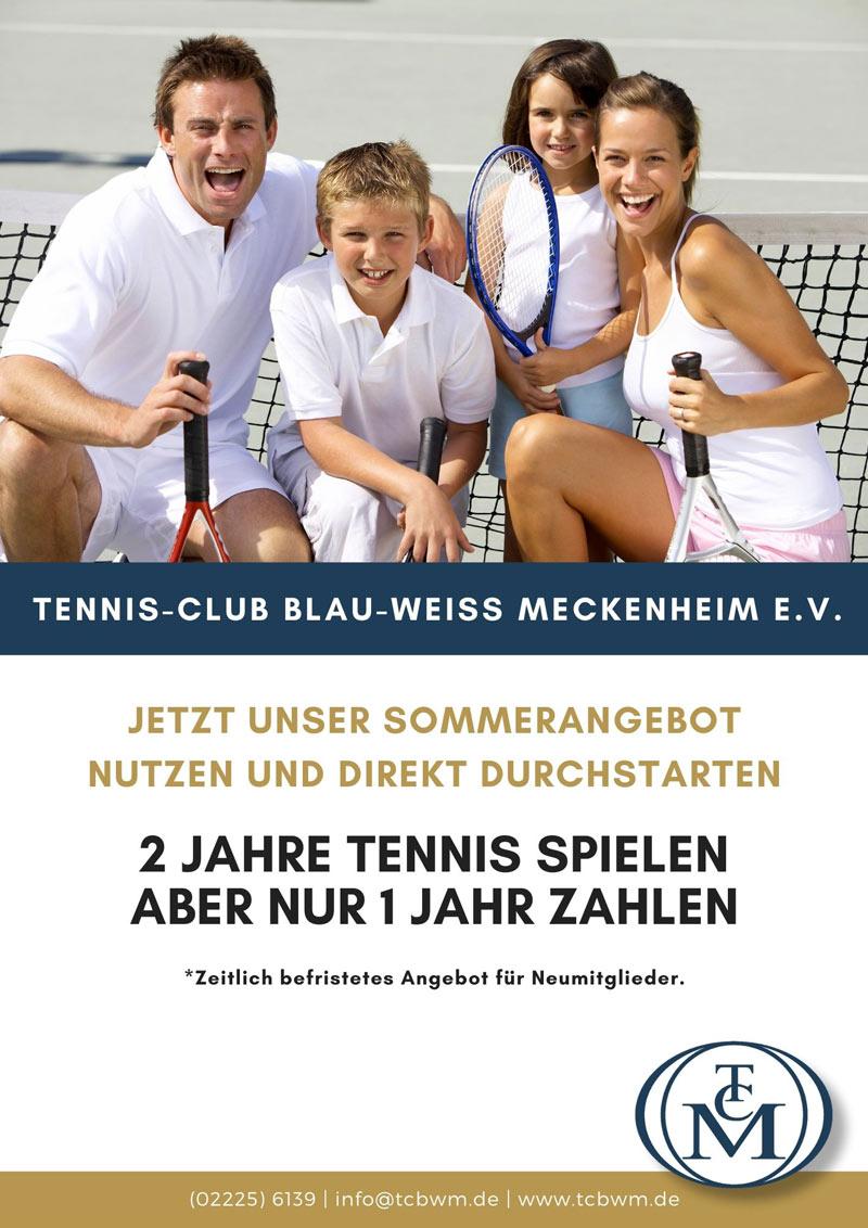 2 für 1 Angebot Neumitglieder Tennis-Club Blau Weiß Meckenheim